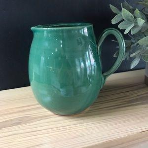 Pottery Barn Green Pottery Pitcher